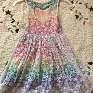 Floral rainbow Dress, heart back design
